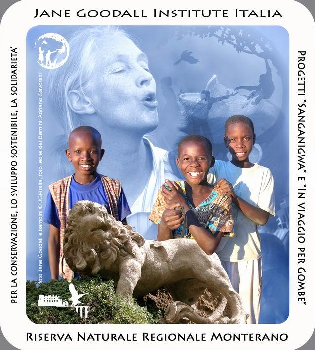 L'adesivo della collaborazione tra Riserva Monterano e Jane Goodall Institute